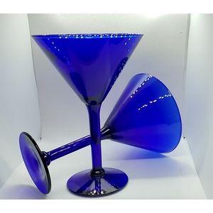 Vintage Cobalt Blue Martini Glasses Large